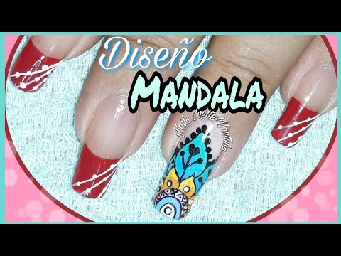 Decoracion de uñas - Decoración de Uñas en rojo con mandala/ mandala paso a paso