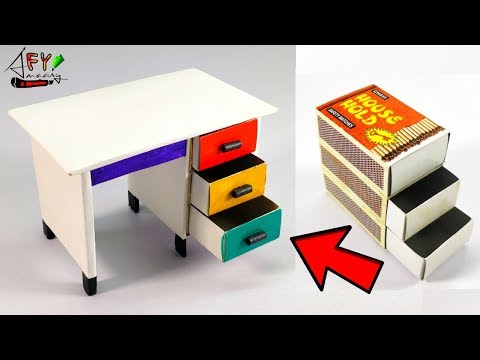 How To Make Matchbox Desk With Drawer | Hand Made Matchbox Craft | DIY Drawer From Matchbox |