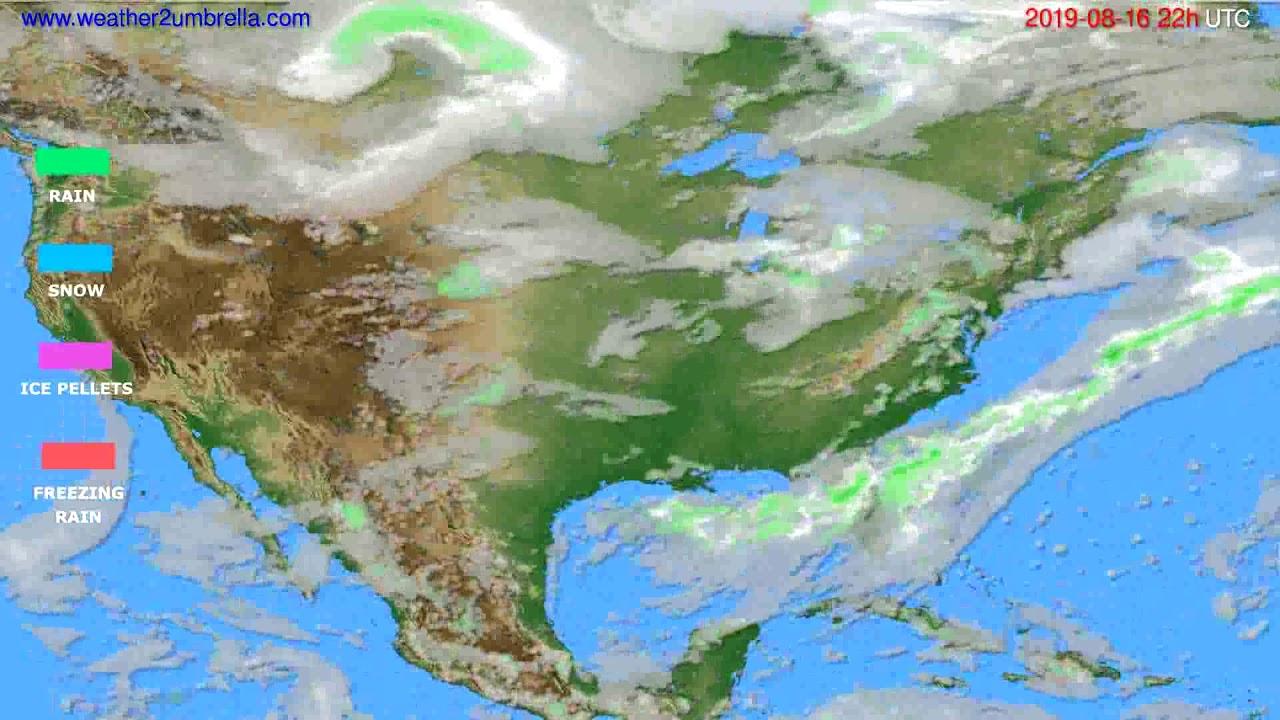 Precipitation forecast USA & Canada // modelrun: 00h UTC 2019-08-14