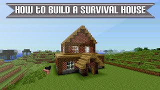 Minecraft (Xbox & Playstation) - HOW TO BUILD A SIMPLE SURVIVAL MINECRAFT HOUSE EASY TUTORIAL [6]