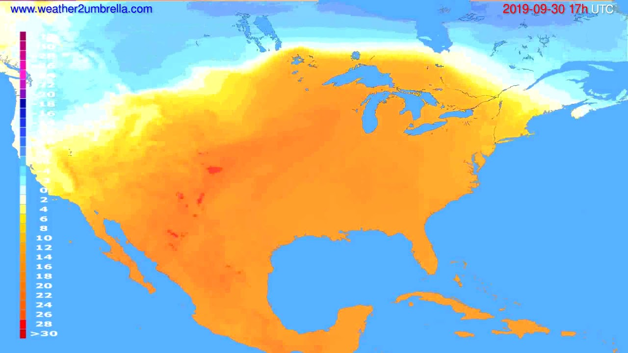 Temperature forecast USA & Canada // modelrun: 12h UTC 2019-09-28