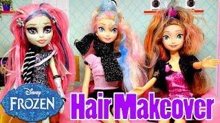 Frozen Elsa's WILD Hair Makeover Barbie Chalk Coloring Monster High Disney's Princess Anna Dolls