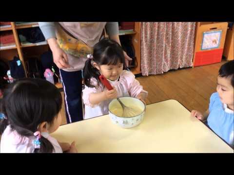 ともべ幼稚園 ホットケーキ作り つくし・すみれ