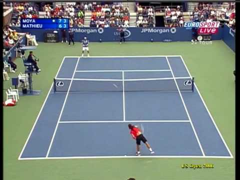 Paul-Henri Mathieu ante Moyá en el US Open 2006