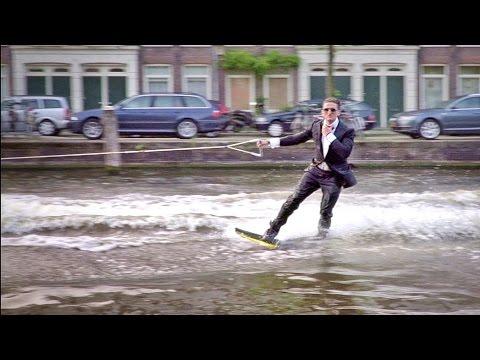 Wakeboarding In A Tuxedo In Amsterdam