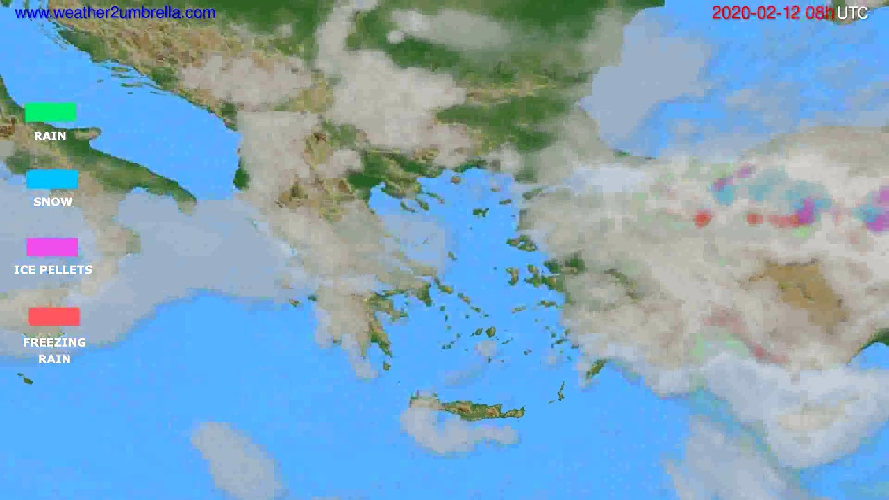Precipitation forecast Greece // modelrun: 12h UTC 2020-02-11