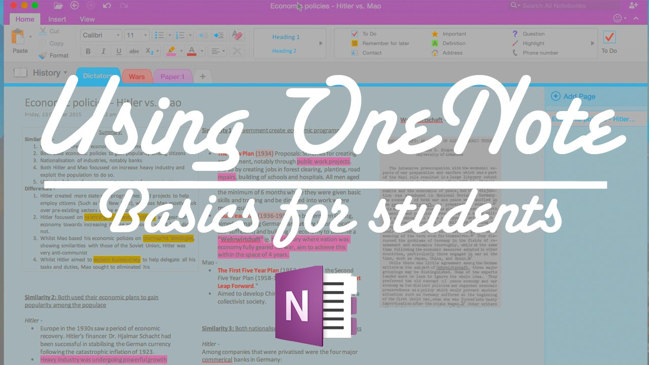 A demonstration on using OneNote