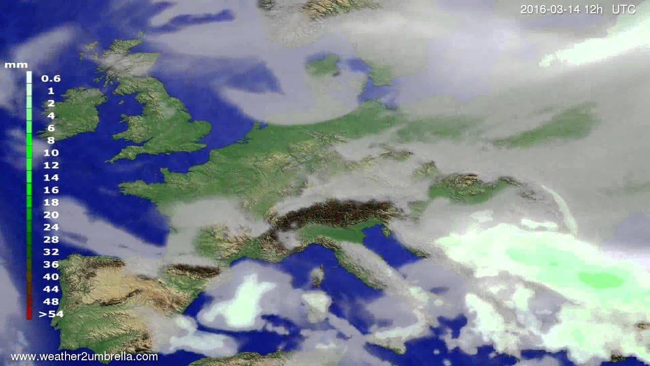 Precipitation forecast Europe 2016-03-10