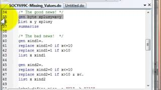Stata can sometimes confuse new users with how missing values are treated.  This video will remove some of the mystery and help you understand some of the issues with missing values.