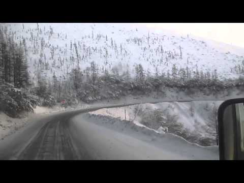 Kolyma Highway (Road) - Olchansky Mountain Pass in winter - Yakutia, Siberia/Russia (видео)