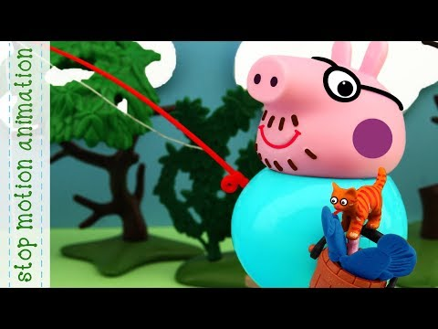 Little Helper and Daddy's Fishing Peppa Pig toys stop motion animation