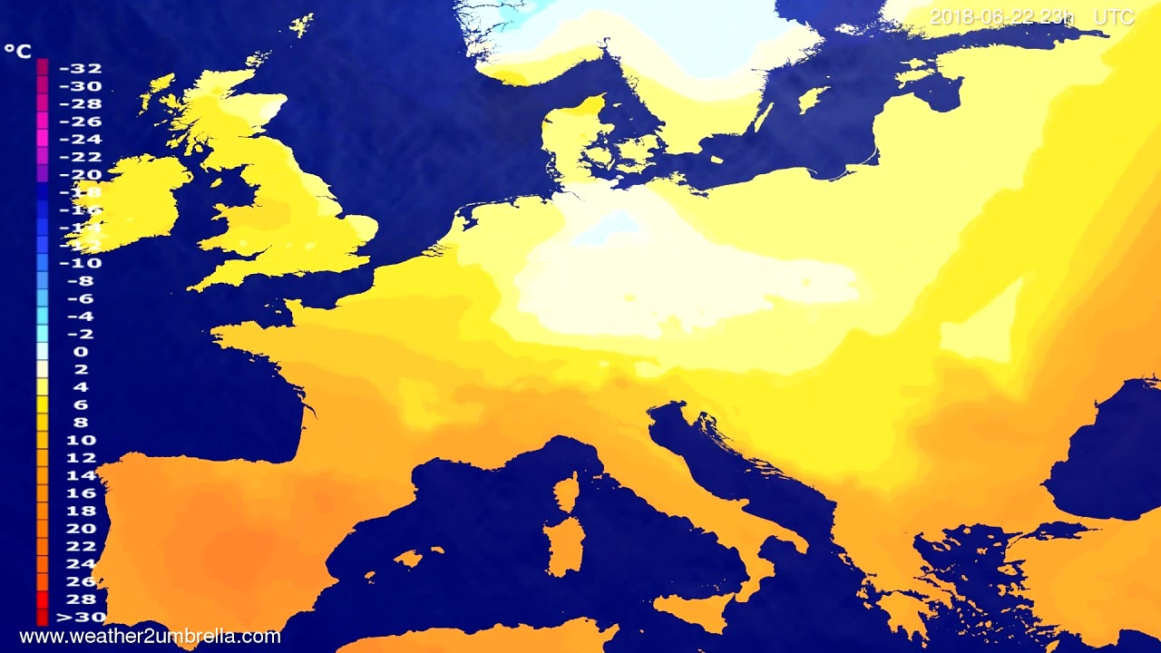 Temperature forecast Europe 2018-06-19
