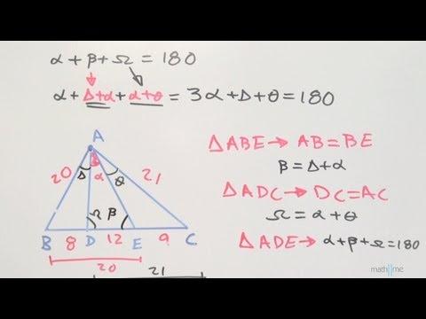 Finden Messung eines Winkels in einem Dreieck, so dass Segmente