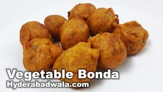 Vegetable Bonda from Maimoona Yasmeen's RecipesFor the batter:Ingredients:Chickpea flour/besan: 200 gramsSalt: 1 teaspoonBaking soda: 1/4th teaspoonTurmeric powder: 1/4th teaspoonRed chilli powder: 1 ½ teaspoonGinger garlic paste: 1 teaspoonWater: 1 1/4th cupProcedure:1. Add salt, baking soda, turmeric powder, red chilli powder, ginger garlic paste, and 1 and 1/4th cup water to chickpea flour or besan and mix well to form a medium consistency batter.2. Keep this aside for about half an hour.For the filling:Ingredients:Potatoes: ½ kgGreen peas: 2 tablespoonsThinly diced carrot: 2 tablespoonsThinly diced beans: 1 tablespoonChopped mint leaves: 1 ½ tablespoonChopped coriander: 1 ½ tablespoonWhole green chillies:3Chhole/chaat masala: 1 tablespoonBlack pepper powder: ½ teaspoonSalt: 1 teaspoonProcedure:1. Add potatoes to a pressure cooker along with 250 ml of water.2. Pressure cook till the potatoes get tender. Peel the skin and mash thoroughly3. Boil green peas in half a cup of water.4. When the green peas get tender, strain the water.5. To the mashed potatoes, add salt, black pepper powder, thinly diced carrot, boiled green peas, diced beans, chopped mint leaves, chopped coriander, thinly diced green chillies and chhole or chaat masala.6. Mix well. Make medium sized balls and keep aside.Final preparation:Potato ballsBatterOil for fryingProcedure:1.  Heat oil for deep frying.2. Dip each vegetable ball into the batter and coat it well with the batter.3. Lower these coated vegetable balls into the medium hot oil.4. Fry till the coated vegetable balls turn golden brown.Vegetable Bondas are ready. Serve hot with Pudine Ki Chutney.