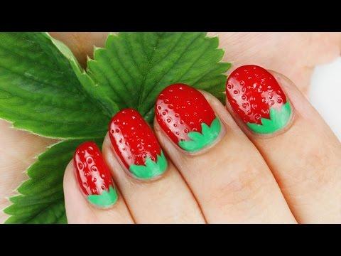 unghie deliziose a forma di fragola - nail art tutorial