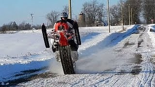 6. Crazy Snowmobile Catwalk: Polaris Switchback 800 ProR Trackstand Wheelie