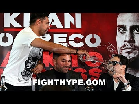 (WOW!!) AMIR KHAN ERUPTS; NEAR BRAWL WITH PHIL LO GRECO AFTER THROWING WATER IN HIS FACE
