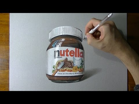 A glass jar of Nutella realistic drawing