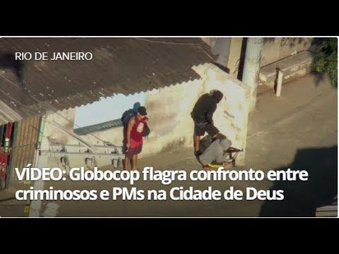 Imagens mostram confronto entre homens armados e PMs na Cidade de Deus