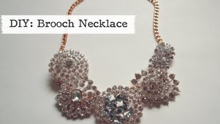 GLITTER 'N GLUE: DIY Brooch Statement Necklace - YouTube