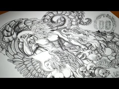 Warrior, Angel & Dragon Tattoo Design – Speed Drawing Video