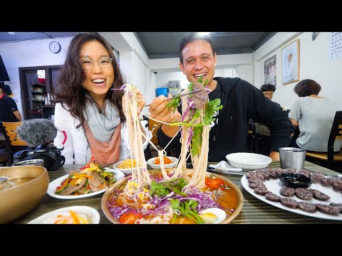 North Korean Food In Seoul - RAINBOW NOODLES + Big Beef Hot Pot In South Korea! (ft. Miss Mina)