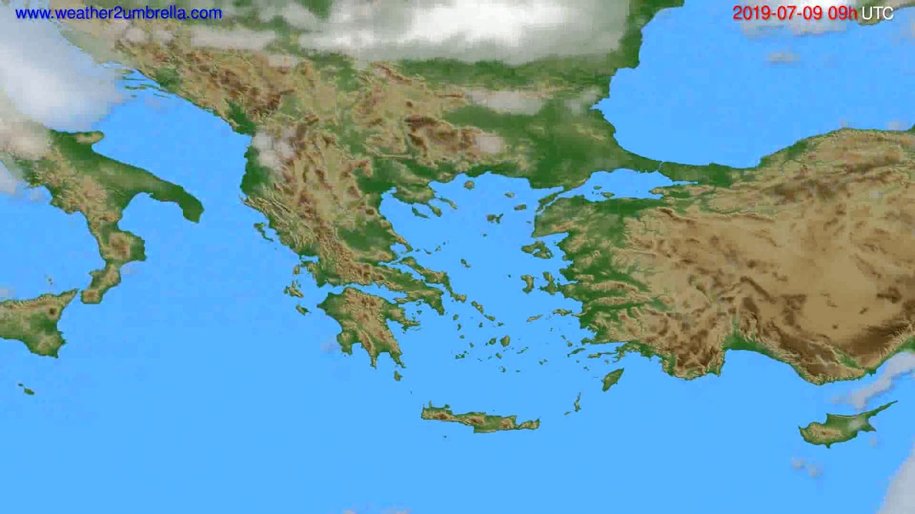 Cloud forecast Greece // modelrun: 00h UTC 2019-07-07