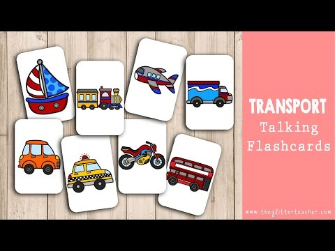 Transportation Talking Flashcards - Tarjetas de vocabulario de los medios de transporte