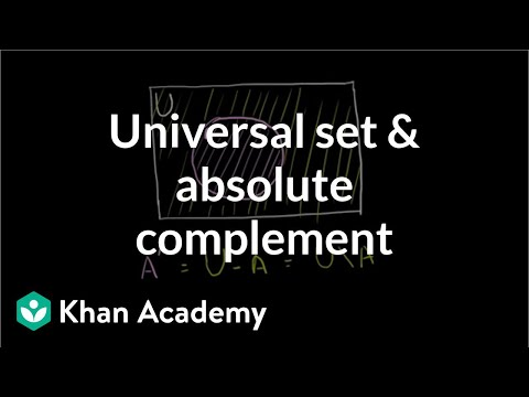 Universal Set And Absolute Complement Video Khan Academy