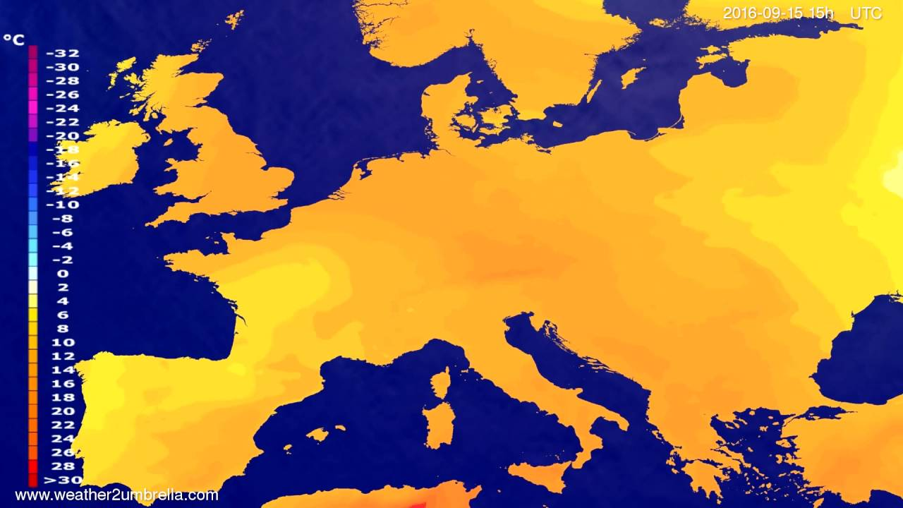 Temperature forecast Europe 2016-09-12