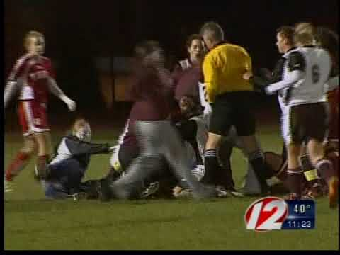 ri soccer_fight - Two fights broke out at a girls high school state championship soccer game at Rhode Island College Sunday night.