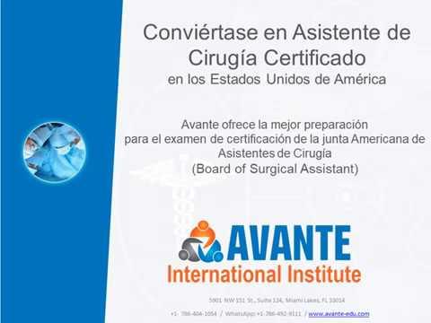 Curso Asistente de Cirugía Certificado en los Estados Unidos en Miami