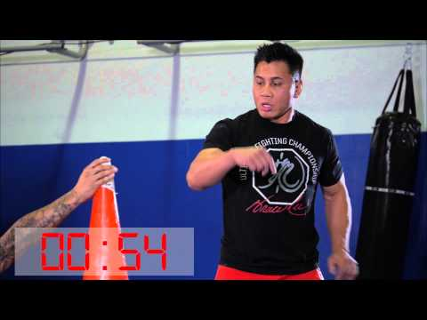 le - UFC middleweight Cung Le sets a Guinness World Record for the most eggs crushed in one minute with a kick.