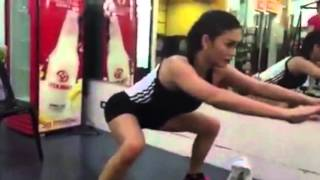 Pia Wurtzbach sweats it out for Miss Universe