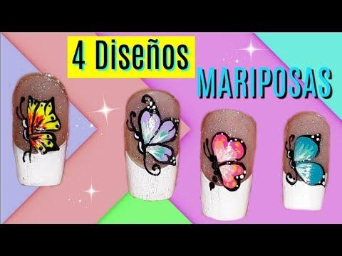 Diseños de uñas de mariposas Butterfly nail designs