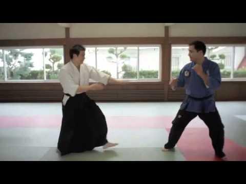 Some real life Morpheus vs. Neo stuff! Jujitsu vs Aikido. They seem to be enjoying it too.