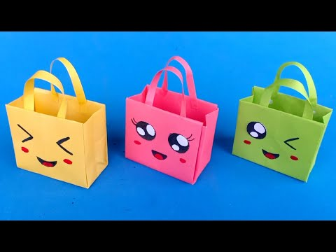 Origami Paper Bag | How To Make Paper Bags with Handles | Origami Gift Bags | school hacks