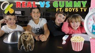 Video REAL vs GUMMY FOOD CHALLENGE • ft. BOYS TV au Gu'Live :) MP3, 3GP, MP4, WEBM, AVI, FLV Oktober 2017