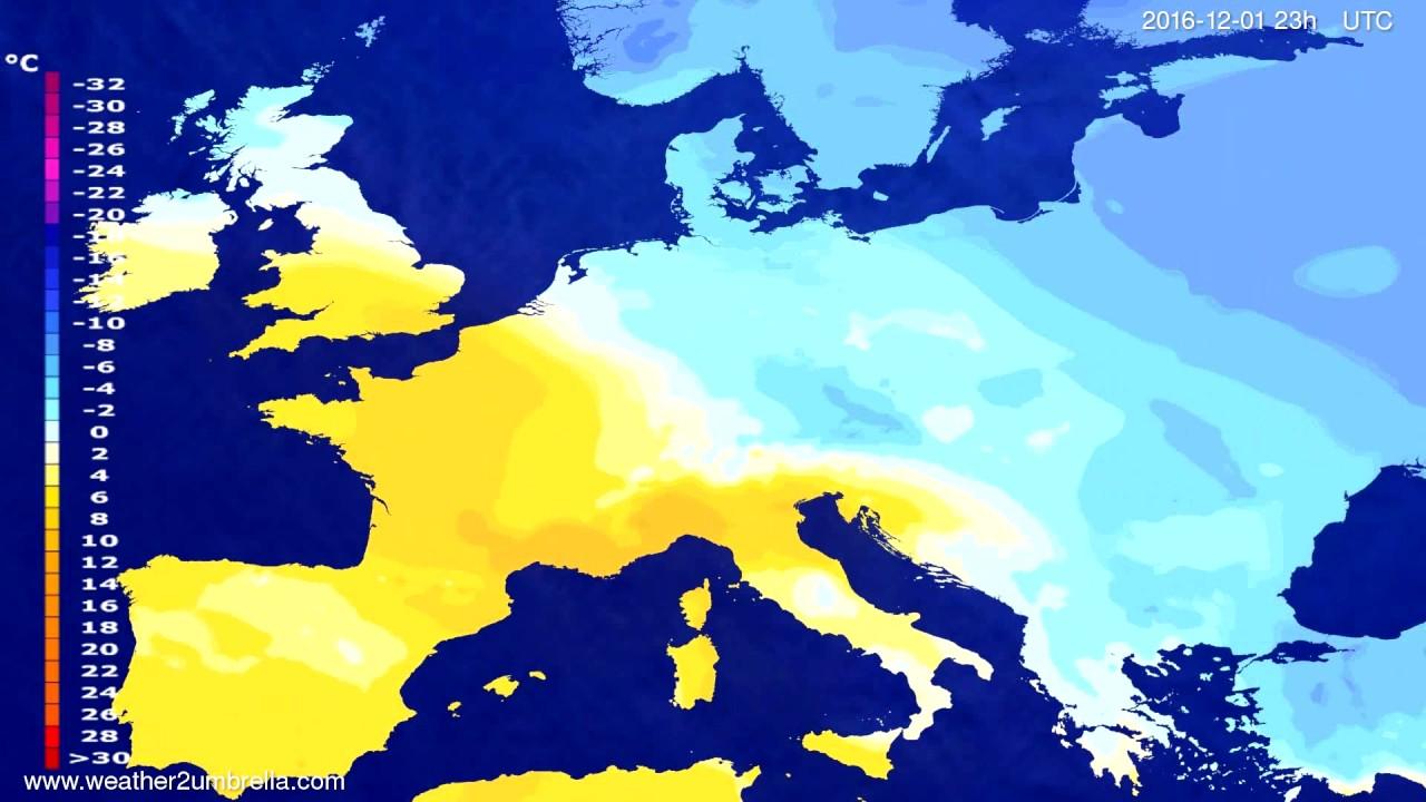 Temperature forecast Europe 2016-11-28