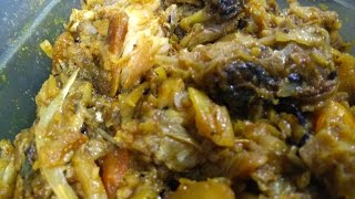 Cabbage with Fish Head - Bengali recipe