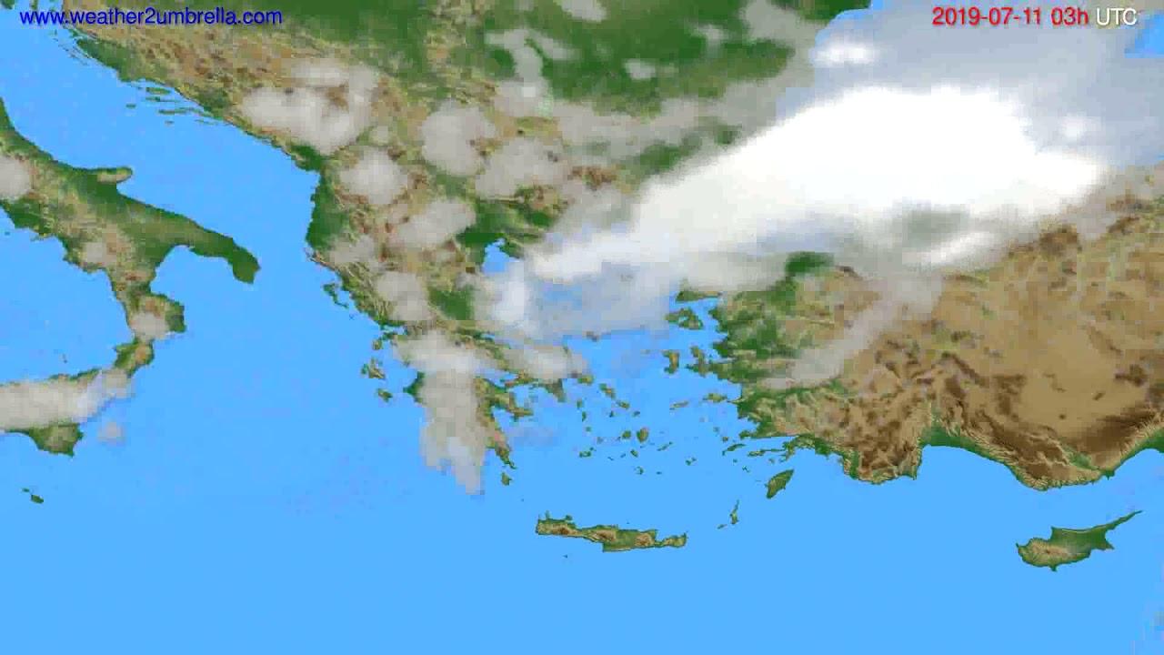 Cloud forecast Greece // modelrun: 00h UTC 2019-07-08