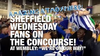 Sheffield Wednesday before the 2016 Championship play-off final v Hull City on the concourse at Wembley singing 'We're on our way'.It wasn't to be on the day in terms of result (Hull City 1 - 0 Sheffield Wednesday), but the supporters were tremendous before, during and after the game.SUBSCRIBE FOR UPDATES! http://www.youtube.com/subscription_center?add_user=deejayone1Sheffield Wednesday Football Club is a football club based in Sheffield, South Yorkshire, England, who are competing in the Football League Championship, the second tier of the English Football League System. Sheffield Wednesday are one of the oldest professional clubs in the world and the third oldest in the English league. They won the second football competition ever held, the Cromwell Cup, which remains in their possession. The Wednesday, as they were named until 1929, were founding members of The Football Alliance in 1889, and its first champions that inaugural season. The Wednesday joined The Football League three years later when the leagues merged. Sheffield Wednesday were also one of the founding members of The Premier League in 1992.Their main rivals are Sheffield United, the two clubs having contested the Steel City derby on a regular basis for some 100 years. Barnsley, Leeds United, Rotherham United, Chesterfield and Doncaster Rovers are also local rivals. The club has spent the majority of its history in the top flight of English football since joining the Football League in 1892 under the name of The Wednesday Football Club. They have won four League titles, three FA Cups and one League Cup, but their League Cup triumph in 1991 is their only major trophy since 1935. They did reach both domestic cup finals in 1993, but lost 2--1 to Arsenal at Wembley on both occasions. They also lost the 1966 FA Cup final to Everton 3--2, having led 2--0.They play their home matches at Hillsborough Stadium in the north-western suburb of Owlerton from which the club gained its nickname, The Owls. The stadium
