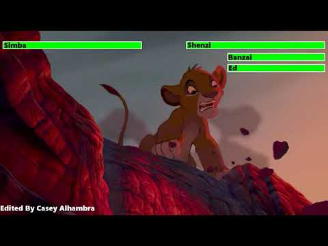 The Lion King (1994) Hyenas Chasing Simba with healthbars