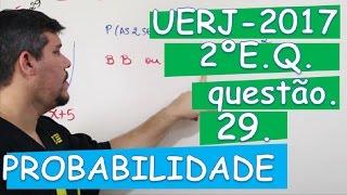 Neste vídeo eu resolvo a questão 29 do 2º exame de qualificação UERJ 2017. A questão trata de probabilidade. Uma urna contém uma bola branca, quatro bolas pr...