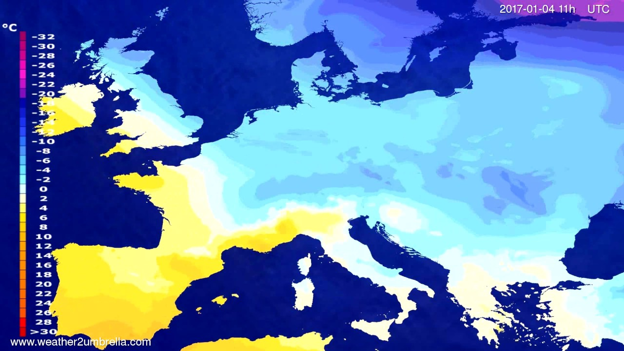 Temperature forecast Europe 2016-12-31