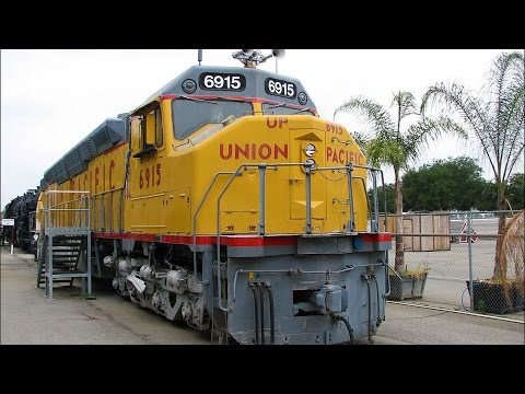 locomotive - Union Pacific 6915 on public display in Pomona, CA. This big diesel is one of a few surviving examples. The new EMD SD59MX I caught in Redding, CA on my retu...