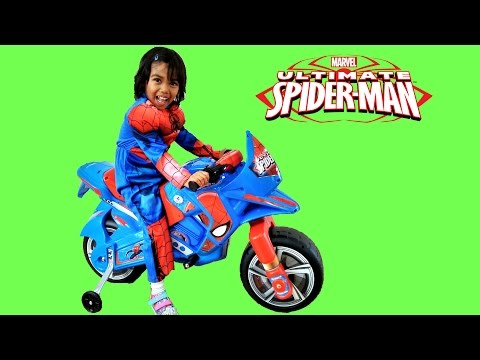 Spiderman Ride On Motorbike Power Wheels | Surprise Toy Unboxing & Assembly Playtime Kids Superhero