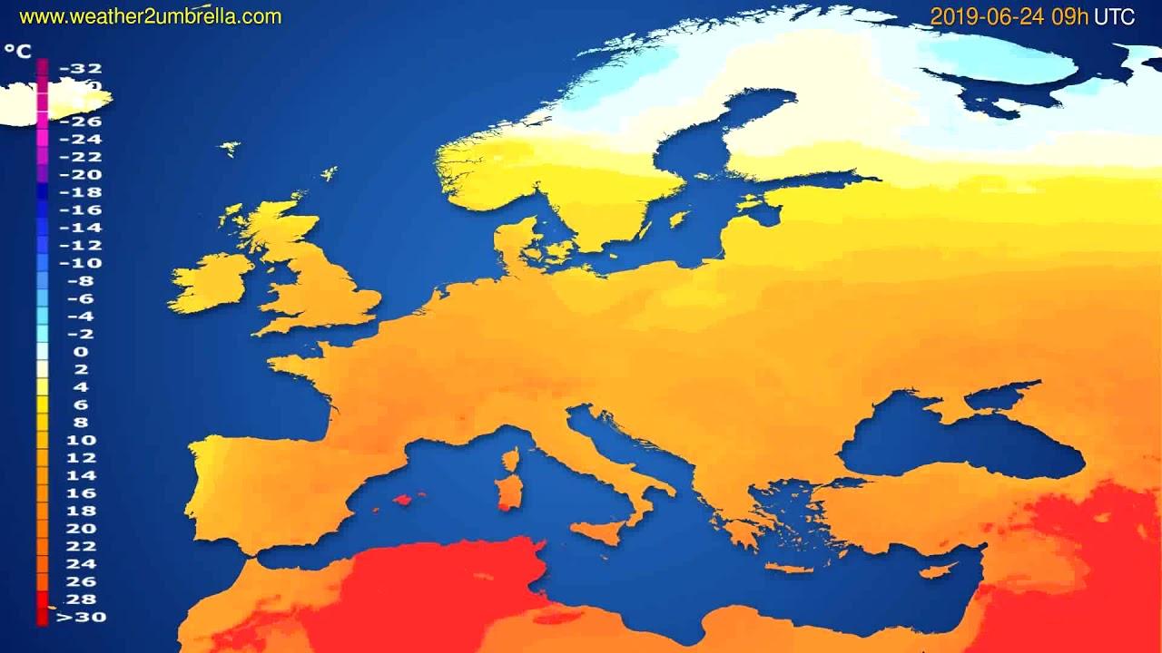 Temperature forecast Europe // modelrun: 12h UTC 2019-06-22