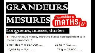 Maths 6ème - Longueurs, Masses, Durées Exercice 3