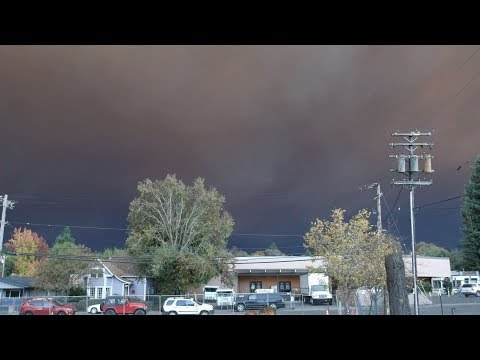 Smoke in Willits, California, From Butte County California fire